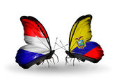 Butterflies with Holland and Ecuador flags on wings — Stock Photo