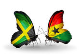 Butterflies with Jamaica and Ghana flags on wings — Stock Photo