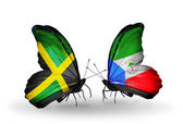 Butterflies with Jamaica and Equatorial Guinea flags on wings — Stock Photo