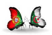 Butterflies with Portugal and Algeria flags on wings — Stock Photo