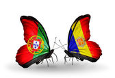 Butterflies with Portugal and Andorra flags on wings — Fotografia Stock