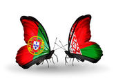 Butterflies with Portugal and Belarus flags on wings — Stock Photo
