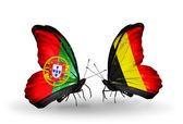 Butterflies with Portugal and Belgium flags on wings — Photo