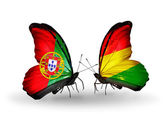 Butterflies with Portugal and Bolivia flags on wings — Stock Photo