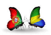 Butterflies with Portugal and Gabon flags on wings — Foto Stock