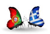 Motýli s příznaky Portugalsko a Řecko na křídlech — Stock fotografie