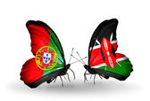 Butterflies with Portugal and Kenya flags on wings — Stock Photo