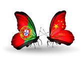 Butterflies with Portugal and Portugal and China flags on wings — Stock Photo