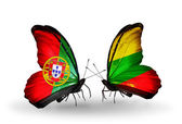 Butterflies with Portugal and Lithuania flags on wings — Stock Photo