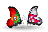 Butterflies with Portugal and Nepal flags on wings — Foto Stock