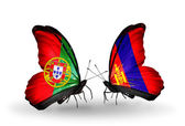 Butterflies with Portugal and Mongolia flags on wings — Stock Photo