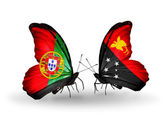 Butterflies with Portugal and Papua New Guinea flags on wings — Stock Photo