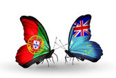Butterflies with Portugal and Tuvalu flags on wings — Stock Photo