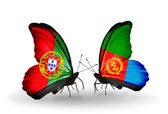 Butterflies with Portugal and Eritrea flags on wings — Stock Photo