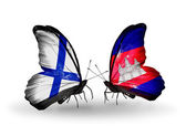 Butterflies with Finland and Cambodia flags on wings — Stock Photo