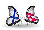Бабочки с Финляндией и Непал флаги на крыльях — Стоковое фото