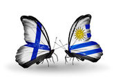 Butterflies with Finland and Uruguay flags on wings — Photo
