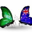 Butterflies with Saudi Arabiand New Zealand flags on wings — Stockfoto #41393537
