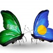 Butterflies with Saudi Arabiand Palau flags on wings — Stockfoto #41393597