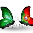 Butterflies with Saudi Arabiand Portugal flags on wings — Stockfoto #41393643