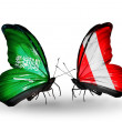 Butterflies with Saudi Arabiand Peru flags on wings — Stockfoto #41393649