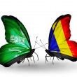 Butterflies with Saudi Arabiand Chad, Romaniflags on wings — Stockfoto #41393661