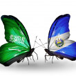 Butterflies with Saudi Arabiand Salvador flags on wings — Stockfoto #41393679