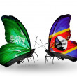 Butterflies with Saudi Arabiand Swaziland flags on wings — Stockfoto #41393691