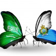 Butterflies with Saudi Arabiand SMarino flags on wings — Stockfoto #41393693