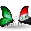 Butterflies with Saudi Arabiand Syriflags on wings — Stockfoto #41393695