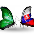 Butterflies with Saudi Arabiand Slovakiflags on wings — Stockfoto #41393697