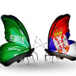 Butterflies with Saudi Arabiand Serbiflags on wings — Stockfoto #41393701