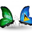 Butterflies with Saudi Arabiand Saint Luciflags on wings — Stockfoto #41393703