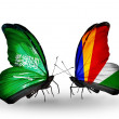 Butterflies with Saudi Arabiand Seychelles flags on wings — Stockfoto #41393709
