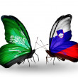 Butterflies with Saudi Arabiand Sloveniflags on wings — Stockfoto #41393719