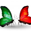 Butterflies with Saudi Arabiand Soviet Union flags on wings — Stockfoto #41393735