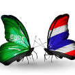 Butterflies with Saudi Arabiand Thailand flags on wings — Stockfoto #41393761