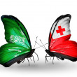 Butterflies with Saudi Arabiand Tongflags on wings — Stockfoto #41393781