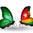 Butterflies with Saudi Arabiand Togo flags on wings — Stockfoto #41393793
