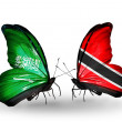 Butterflies with Saudi Arabiand Trinidad and Tobago flags on wings — Stockfoto #41393799