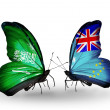 Butterflies with Saudi Arabiand Tuvalu flags on wings — Stockfoto #41393803