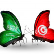 Butterflies with Saudi Arabiand Tunisiflags on wings — Stockfoto #41393817