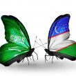 Butterflies with Saudi Arabiand Uzbekist flags on wings — Stockfoto #41393821