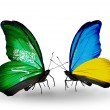 Butterflies with Saudi Arabiand Ukraine flags on wings — Stockfoto #41393843