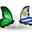 Butterflies with Saudi Arabiand Uruguay flags on wings — Stockfoto #41393845