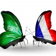 Butterflies with Saudi Arabiand France flags on wings — Stockfoto #41393849