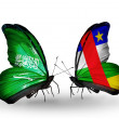 Butterflies with Saudi Arabiand  Central AfricRepublic flags on wings — Stockfoto #41393853