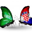 Butterflies with Saudi Arabiand Croatiflags on wings — Stockfoto #41393857