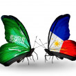 Butterflies with Saudi Arabiand Philippines flags on wings — Stockfoto #41393865