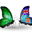 Butterflies with Saudi Arabiand Fiji flags on wings — Stockfoto #41393867